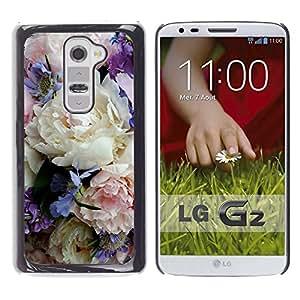 Be Good Phone Accessory // Dura Cáscara cubierta Protectora Caso Carcasa Funda de Protección para LG G2 D800 D802 D802TA D803 VS980 LS980 // Colorful Delicate Flowers Bouquet