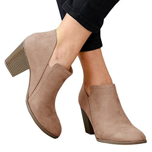 Huiyuzhi Womens Chunky Stacked Heel Ankle Booties Slip On Western Boots Cowboy (Cowboy Heels)