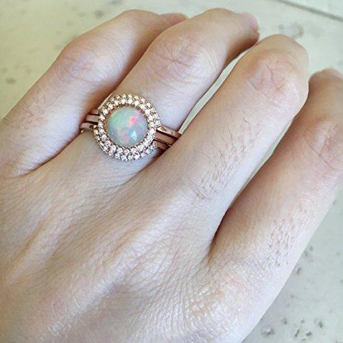 Round Opal Engagement Ring  Rose Gold Opal Engagement Ring Set  Genuine Opal  Bridal Set