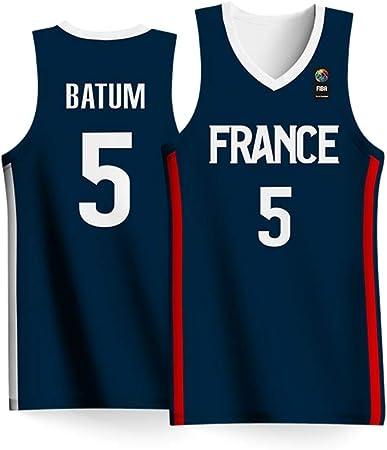 Haoshangzh55 2019 Copa Mundial de Baloncesto de los Hombres Francia Equipo Nº 5 de Baloncesto Ropa Nicolas Batum Jersey Camisa Adulta Niños Azul,5XL: Amazon.es: Hogar