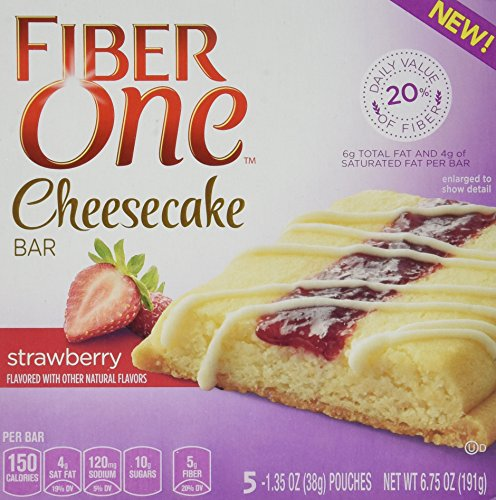 Fiber One, NEW CHEESECAKE BARS! STRAWBERRY, 5 Bars Per Box (1 Box) (New Cheesecake)