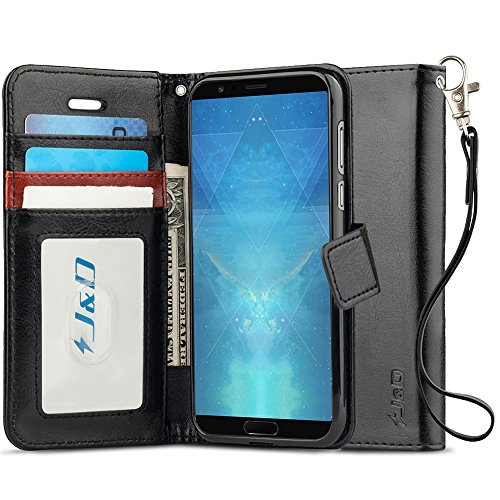 J&D Case Compatible for Huawei Honor View 10 Case, [RFID Blocking Wallet] [Slim Fit] Heavy Duty Protective Shock Resistant Flip Cover Wallet Case for Huawei Honor View 10 Wallet Case - Black