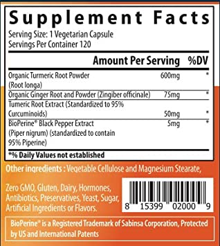 Organic Turmeric Curcumin with BioPerine and Ginger by Naturo Sciences Three Pack, 360 Capsules