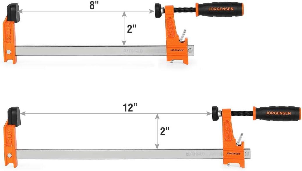 300 Lbs Load Limit Jorgensen 2-Piece Steel Bar Clamp Set 8-inch /& 12-inch Light Duty F-Clamp