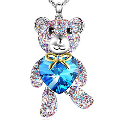"♥Birthday Gift♥""Brother Bear""Animal Necklace Blue Heart Pendant with Swarovski Crystals Jewelry for Daughter Girlfriend (Swarovski Crystal Teddy Bear)"