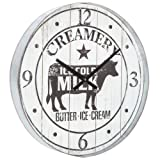 Rustic Round Cow Dairy Creamery Wood Kitchen Wall Clock (Farmhouse Home Decor)