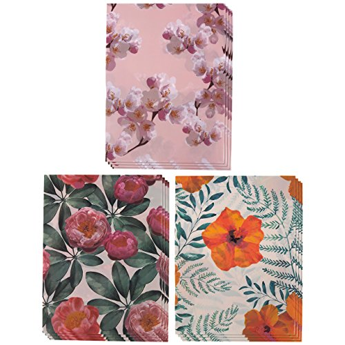 Designer 2-Pocket File Folders - 12 Pack of Decorative Letter Size Poly Folders with Colorful Leaves and Floral Prints in Pink, Orange, and (Fashion Folders)