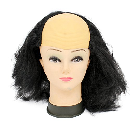 Funny Hair Wigs Halloween Bald Old Man Woman Wig Head Mask Costume Party Novelty Mask Masquerade Supplies Bald Wig Black -