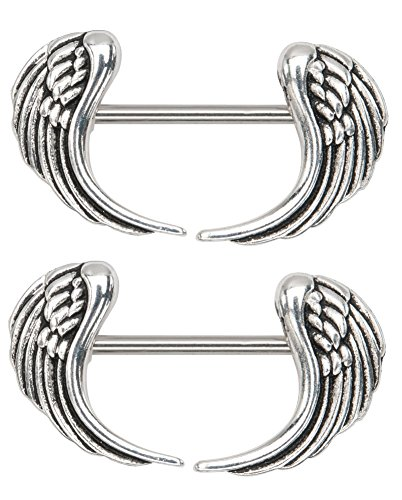 Pair Nipple Rings Shields - Angel Wings 14g 1/2 Nipple Ring Bar Shields - Sold as a Pair