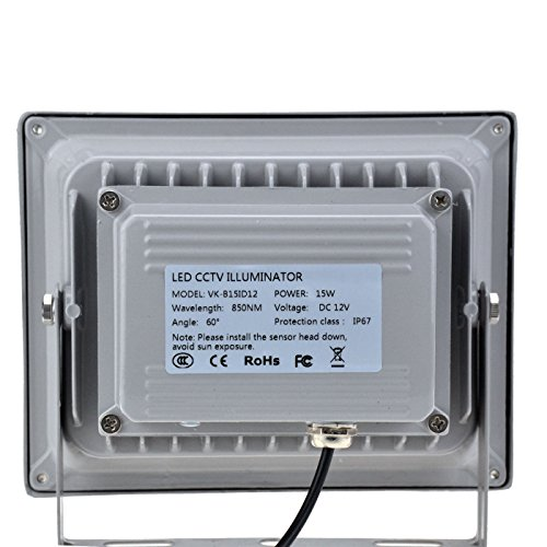 VIKYLIN Infrared Illuminator 850nm 15 LEDs 60 Degrees Wide Angle IR Illuminator IP67 Waterproof Night Vision LED Infrared Light for IP Camera, CCTV Security Camera