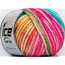Lot of 4 x 100gr Skeins Ice Yarns FUN WOOL BULKY (25% Wool) Yarn Pink Turquoise Yellow Green White