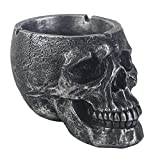 JHP Ashtray, Ash Holder Smokers, Death Curse Metallica Human Skull Ashtray, Hand-Painted Gothic Style Cigarette Ashtray for Indoor Outdoor (Black)