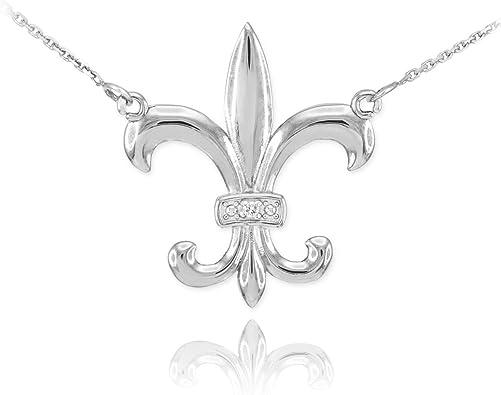 houseofgems Sterling Silver Fleur De Lis Pendant Necklace W//CZ