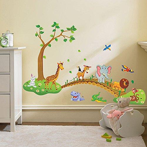Haute Baby Jungle - Ieasycan 3D Cartoon Jungle wild animal Tree Bridge Lion Giraffe Elephant Birds Flowers Owl Wall stickers For Kids/Living Room Home Decor