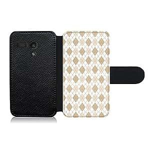 Funda carcasa de cuero para Motorola G diseño estampado rombos beige y blanco efecto tela