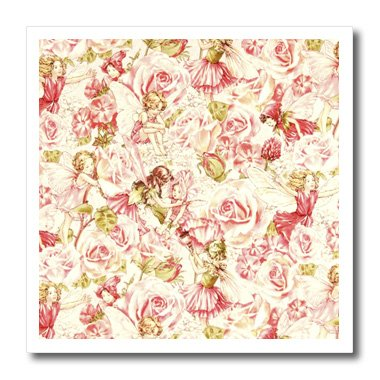 Vintage Iron On Transfers - 3dRose ht_60537_2 Pink N Green Vintage Flower Fairies Iron on Heat Transfer for White Material, 6 by 6-Inch