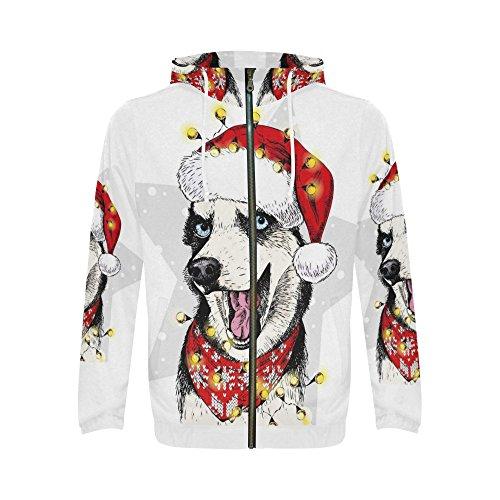 InterestPrint Custom Funny Portrait Husky Dog Santa Claus Christmas Men's Full-Zip Zipper Hoodies Sweatshirt XL (Portrait Claus Santa Christmas)