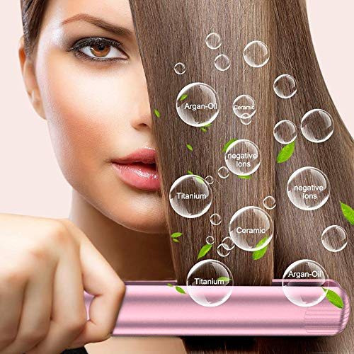 Rose Hair Straightener and Curls 2 IN 1 for Long Hair, Straightens & Curls with Adjustable Temp Ceramic Tourmaline Ionic Flat Iron Hair Straightener Travel Solan 1 Inch Dual Voltage #Rose