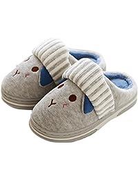 Q-Plus Cute Bunny Memory Foam Slide Slippers Boots Anti Slip Fluffy House Shoes for Little Kids/Toddler