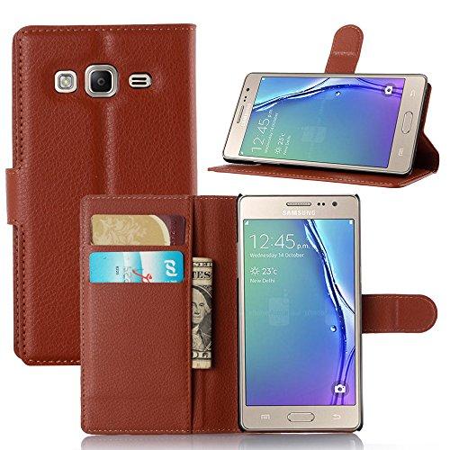Funda Samsung Galaxy Z3,Manyip Caja del teléfono del cuero,Protector de Pantalla de Slim Case Estilo Billetera con Ranuras para Tarjetas, Soporte Plegable, Cierre Magnético(JFC8-23) I