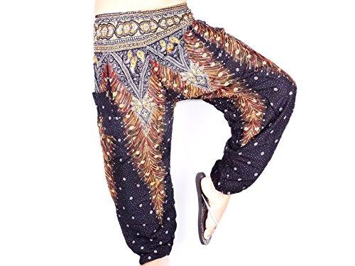 Sarouel Mujer Pantalón étnica Aladin harén Pant Aladdin Holgado Baggy Yoga negro