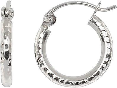 Pendientes De Aro De Oro Blanco De 14 K Con Corte De Diamante Tubo De 0 079 In Oro Blanco Looptyhoops Jewelry
