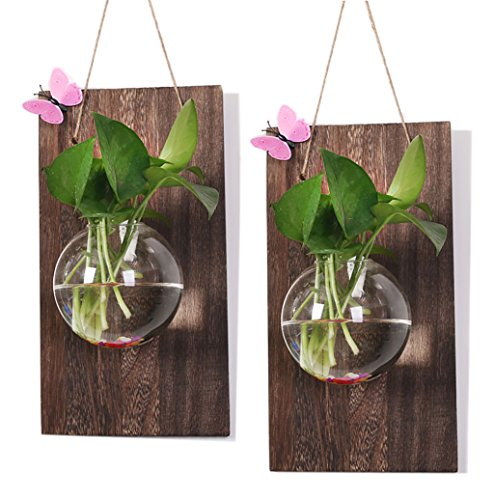 Ivolador Wall Glass Hanging Planter with Wooden Board for Wall Background Decoration ((Wood + Round vase) X 2 Set) -
