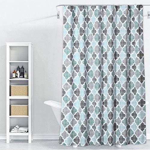 Fabric Shower Curtain, Geometric Quatrefoil Patterned Modern Poly-Cotton Farmhouse Shower Curtain for Bathroom, Aqua/Mint/Grey, 72x72 Inches (Curtains Fabric Geometric Shower)