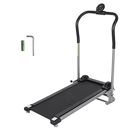 GOGOUP Folding Treadmill, Silent, Free Assembly- Manual Running Jogging Walking Machine for Health Fitness Exercise