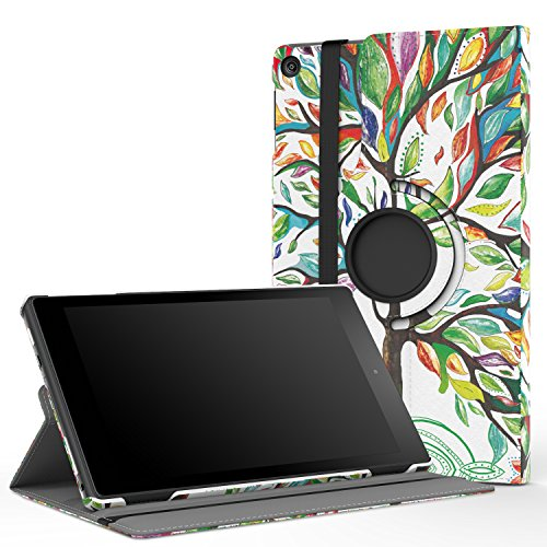 "MoKo Case for All-New Fire HD 8 2017 / Fire HD 8 2016 - 360 Degree Rotating Cover with Auto Wake / Sleep for Amazon Fire HD 8 (7th Gen, 2017 / 6th Gen, 2016) 8"" Tablet, Lucky TREE"