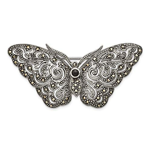 925 Sterling Silver Marcasite Butterfly Pin Animal Fine Jewelry Gifts For Women For ()