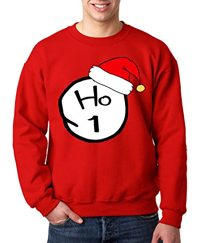 New Way 604 - Crewneck HO 1 CHRISTMAS THING Unisex Pullover Sweatshirt Medium Red (Christmas 604)