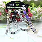 QINF Metal Inlay Diamond Cat Collar Bell Collar Stretch for Cats (Random Colors)