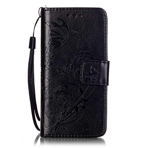 iPod Touch 5/6 Case, UNEXTATI Wallet Case Leather Cover for Apple iPod Touch 5/6, Premium Flip Protective Case with Card Holder, Kickstand, Wrist Strap (Black #3)