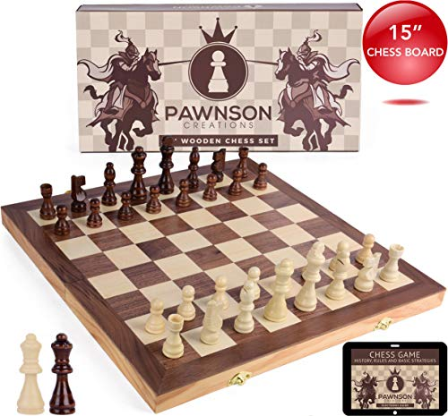 Wooden Chess Set for Kids and Adults - 15 Staunton Chess Set - Large Folding Chess Board Game Sets - Storage for Pieces   Wood Pawns - Unique E-Book for Beginner - 2 Extra Queens