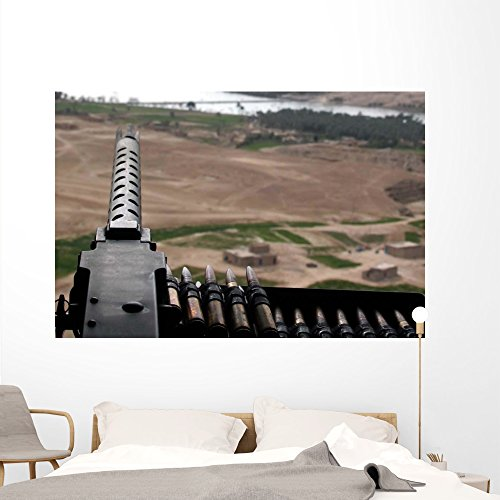 - 50-caliber Machine Gun Mounted Wall Mural by Wallmonkeys Peel and Stick Graphic (72 in W x 48 in H) WM231144