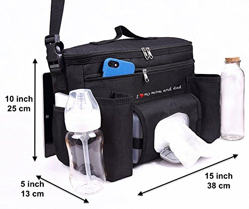 FamCare Premium Stroller Organizer Universal Fit w/Insulated Cup Holders, Wipes Pocket, Zipper and Shoulder Strap - XLarge Storage Space for Phone, Diapers & Toys - The Perfect Baby Shower Gift! by FamCare (Image #7)