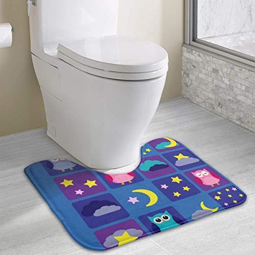 Bennett11 Cute Owl Outer Space Birthday Contour Bath Rugs,U-Shaped Bath Mats,Soft Memory Foam Bathroom Carpet,Nonslip Toilet Floor Mat 19.2″x15.7″