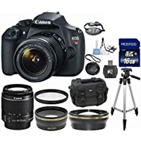 Canon EOS Rebel T5 18MP EF-S Digital SLR Camera with Canon 18-55mm IS Lens 33rd Street Bundle + .43x Wide Angle + 2.2x T Overview Review Image