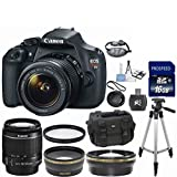 Canon EOS Rebel T5 18MP EF-S Digital SLR Camera with Canon 18-55mm IS Lens 33rd Street Bundle + .43x Wide Angle + 2.2x T