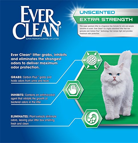 091854604179 - Ever Clean Extra Strength Cat Litter, Unscented, 25-Pound Box carousel main 2