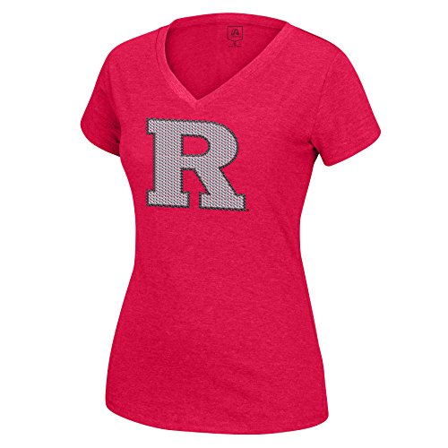 Rutgers Scarlet Knights Logo (J America NCAA Rutgers Scarlet Knights Women's Sequin Logo Favorite Tee, Red, Small)
