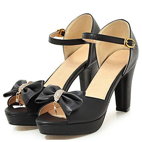 RAZAMAZA Mujer Mode tacon alto plataforma sandalias Tac¨®n Ancho Zapatos de Bowknot Negro