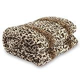 Lucy's Luxury Bellahome Safari Faux Fur Plush Throw Blanket Comforter, Queen (74'' L x 86'' W ), Leopard