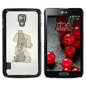 MobileHut / LG Optimus L7 II P710 / L7X P714 / Puppy Abstract Watercolor Poster / Delgado Negro Plástico caso cubierta Shell Armor Funda Case Cover