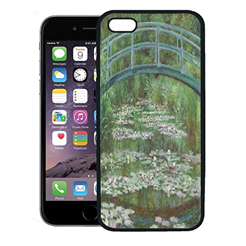 Semtomn Phone Case for iPhone 8 Plus case,The Japanese Footbridge by Claude Monet 1899 French Impressionist Painting Oil on Canvas Floating Lily iPhone 7 Plus case Cover,Black