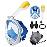 Full Face Snorkel Mask 180° Panoramic View Diving Scuba Mask Easy breath with Anti-Fog and Anti-Leak with Adjustable Head Straps Design for Adults,Youth(Blue)
