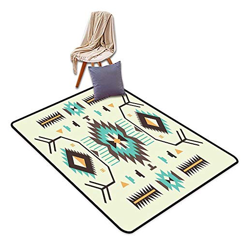 Door Rug Indoors Southwestern Ethnic Pattern Design from Ancient Aztec Culture with Indigenous Zigzag Motifs W55 xL63 Suitable for Restaurants,Family Rooms,corridors,foyers.
