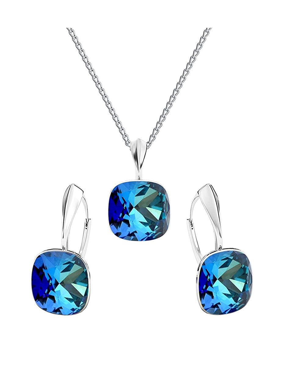 * * beforya Paris * * Square Color Bermuda Blue–Plata 925(–La joyería set–plata 925–Schön Mujer Joyas con cadena de plata de Swarovski Elements 7
