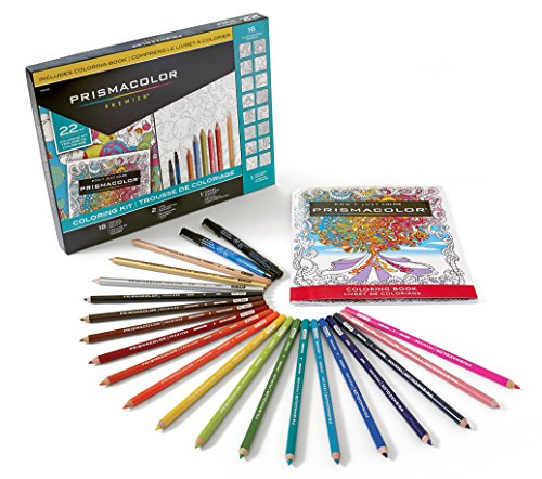 Prismacolor Premier Coloring Kit with Colored Pencils, Art Markers and Adult Coloring Book, 22 Pieces (Newell Colored Markers)